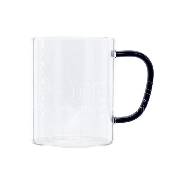 13 oz./400 ml Personalized Glass Coffee Mug with Colored Handle