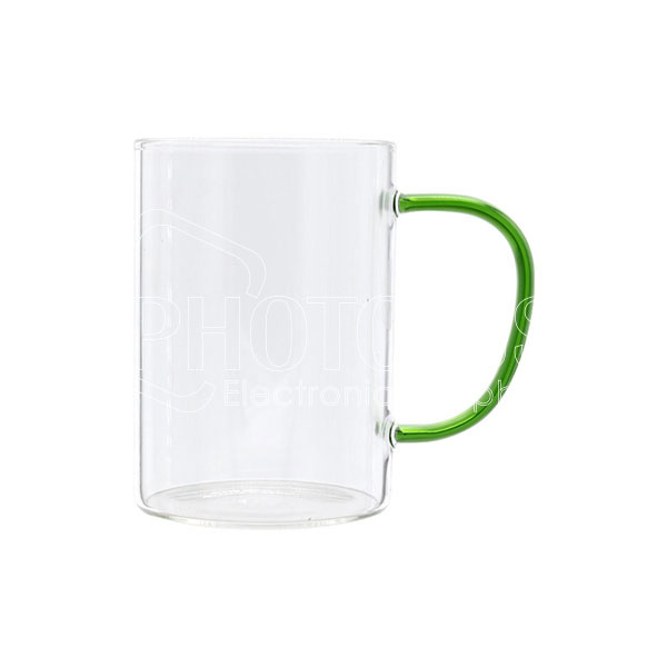 10 oz./300 ml Personalized Glass Coffee Mug with Colored Handle
